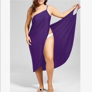 PURPE STRIPES Bathing suit wrap style cover-size L